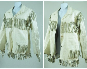 f3ee4b230 White leather fringe jacket   Etsy