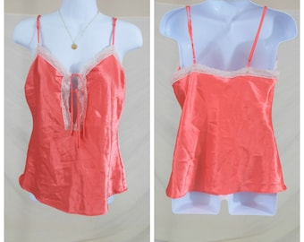 482e8469993a4 90 s Peachy Pink Satin Slip Top
