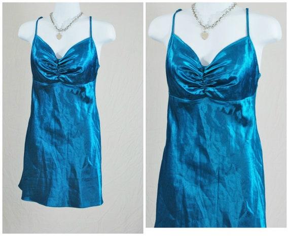 90s Satin Blue Turqoise Mini Dress | Vintage Women