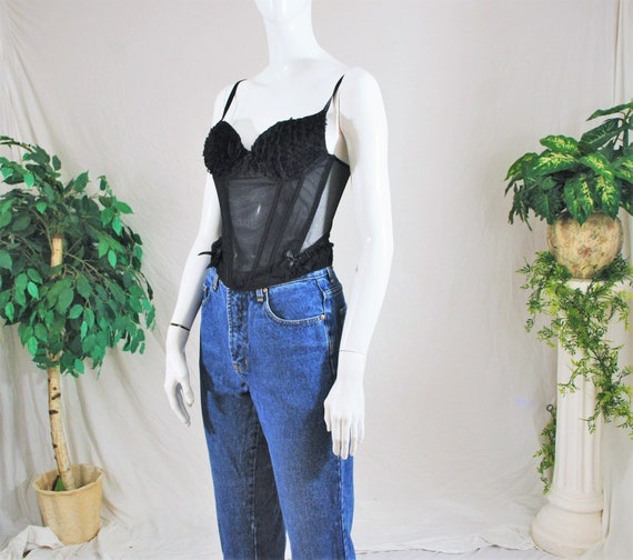 80's 90's Frilly Black Lace Corset top | Vintage … - image 2