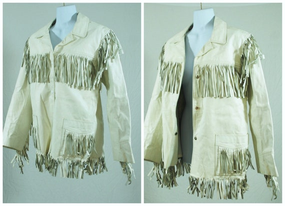 70s 80s White Fringe Genuine Leather | Vintage Uni