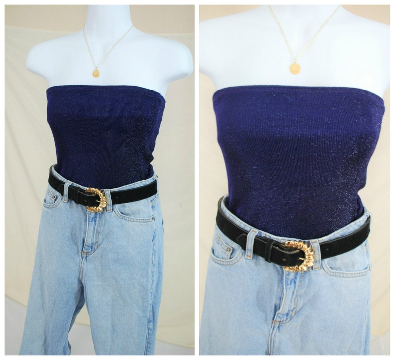 65ec8632185 90 s Sparkly Stretchy Tube Top Vintage 90 s