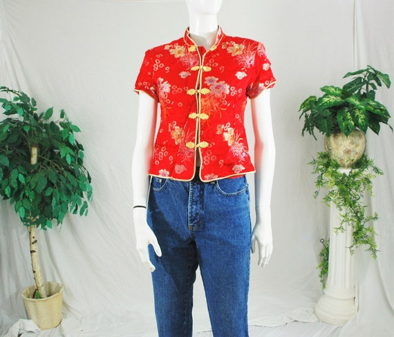 90's Red Floral Print Button Blouse | Vintage Wome