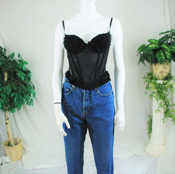 80's 90's Frilly Black Lace Corset top | Vintage … - image 4