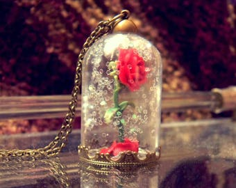 Beauty and the Beast Rose Necklace Inspired
