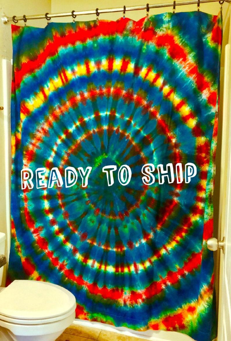 BOHO BATHROOM DECOR TieDye Shower Curtain Hippie Decor Bed