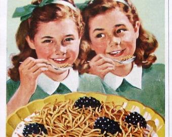 1948 Kellogg's Corn Soya Shreds Cereal Ad - Crispy, Tasty Twin Treat - Twin Girls - 1940s Breakfast Food Ad