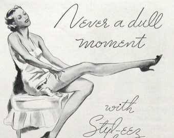 1935 Selby Shoes Ad - Never a Dull Moment With Styl-eez Shoes - 1930s Women's Footwear Magazine Ads