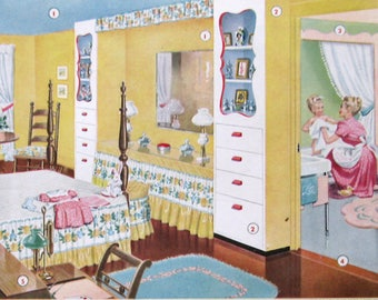 1947 ACME Paints Ad - Feminine Girl's Bedroom Decor, Yellow and Blue - Mom Giving Daughter a Bath