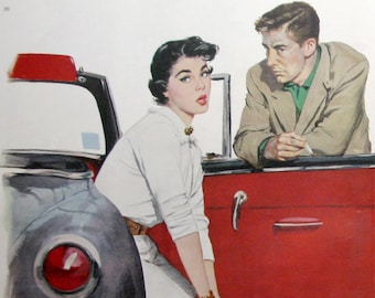 1953 Coby Whitmore Story Art - Vintage 1950's Magazine Illustrations