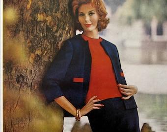 1961 Du Pont Orlon Ad - Double Knit Land of Orlon - 1960's Women's Navy & Red Twinset Fashions - Vintage Print Ads