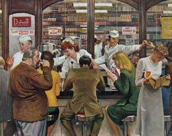 1946 Lunch Counter Diners by John Falter - Original 1940s Saturday Evening Post Cover - Retro Pub Art