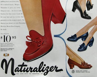 1953 Naturalizer Shoes Ad - Flexible Traveler Shoes - Retro 1950s Footwear Ad