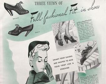 1940 Shortback Foot Saver Shoes Advertisement - 1940s Women's Footwear Styles - Magazine Ads
