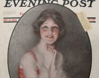 "1920 Alfredo Galli Art - Original Saturday Evening Post Cover Art - ""Girl Smiling"""