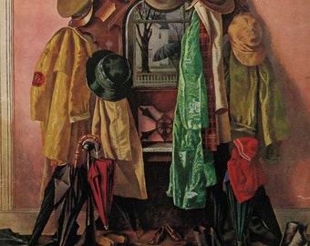 "1945 ""Loaded Coat Rack"" - Saturday Evening Post Cover - John Atherton Art - Mudroom Art Decor"