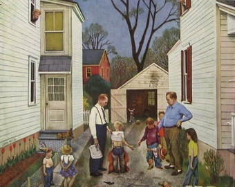 1951 Saturday Evening Post Cover - 1950s Boys Shaking Hands After the Fight - John Falter Art - Nash Airflyte Car Ad