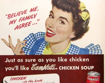 1950 Campbell's Chicken with Rice Soup Ad - Campbell's Soup Ad - 1950s Housewife with Apron - American Advertising