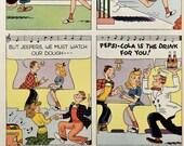 1947 Pepsi Cola Ad - Al Posen Cartoon Art - Teenagers on a Date - 1940s Retro Soda Ads - Post Cereal CircusAd