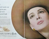 1963 Revlon Touch Glow Liquid Makeup Ad - 1960s Revlon Ads - Retro Beauty Decor