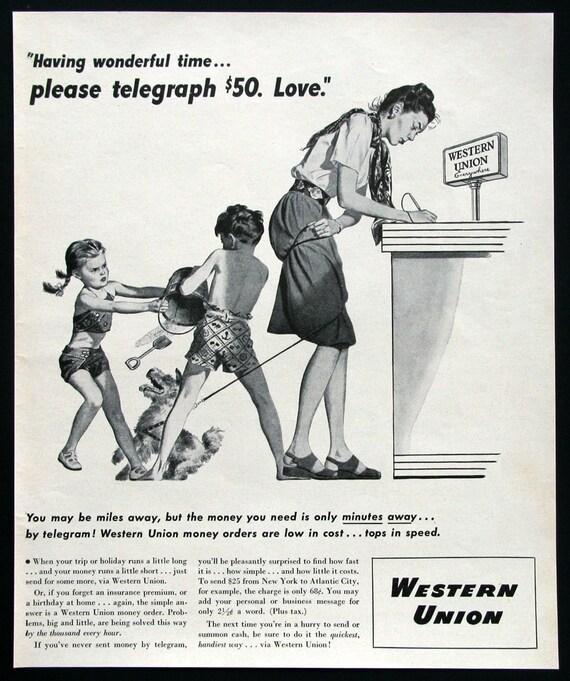1946 Western Union Ad Funny Art Print 1940s Americana Etsy