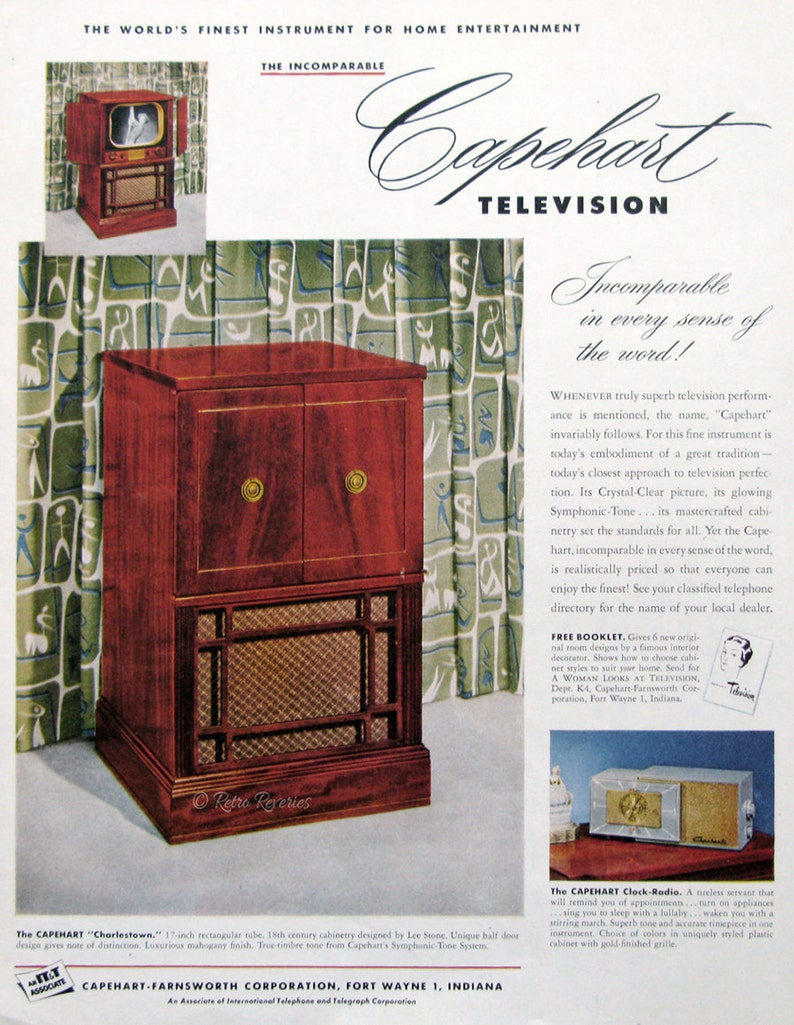 1951 Capehart Charlestown Television Ad   TV Cabinet Design   1950s Vintage  Electronics   Retro Home Decor Ideas