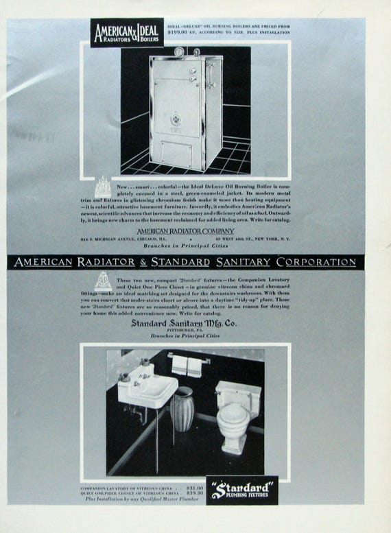 1933 Standard Plumbing Fixtures Ad Silver American Radiator