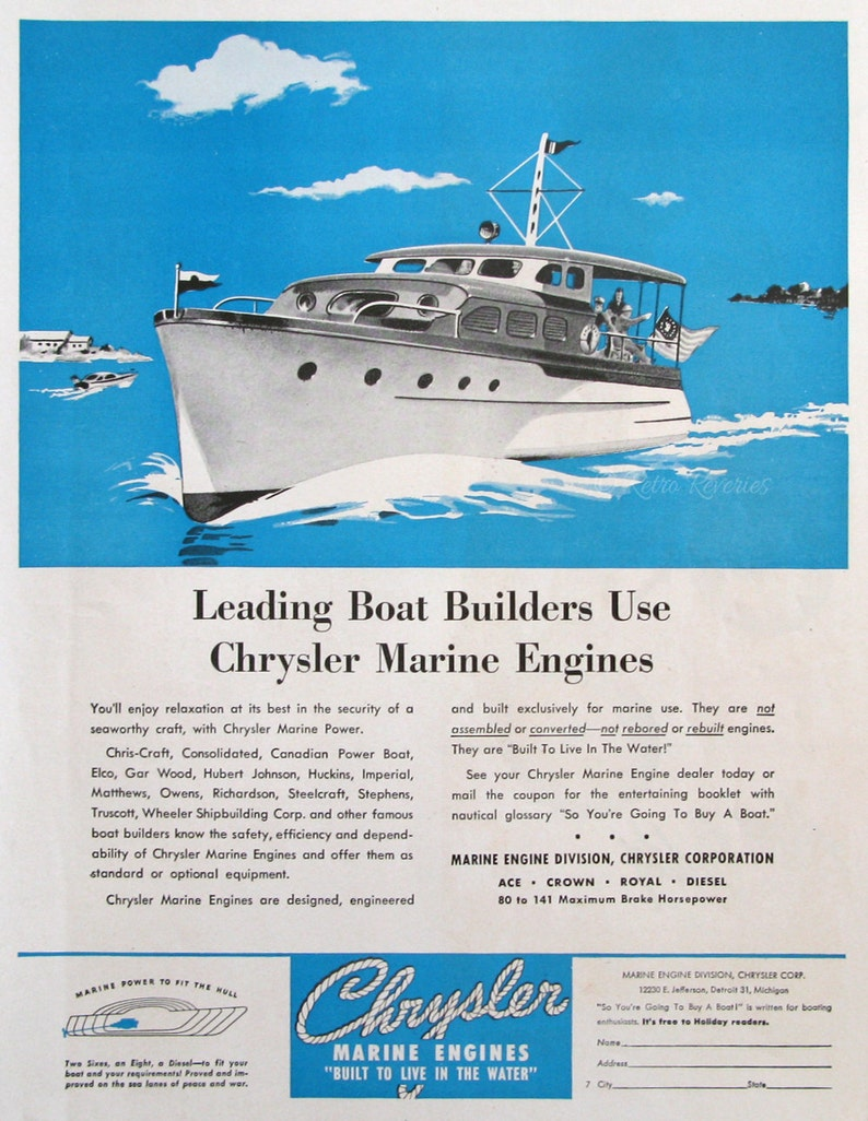 1946 Chrysler Marine Engines Ad - 1940s Party Boat Watercraft - Vintage  Boat Advertising