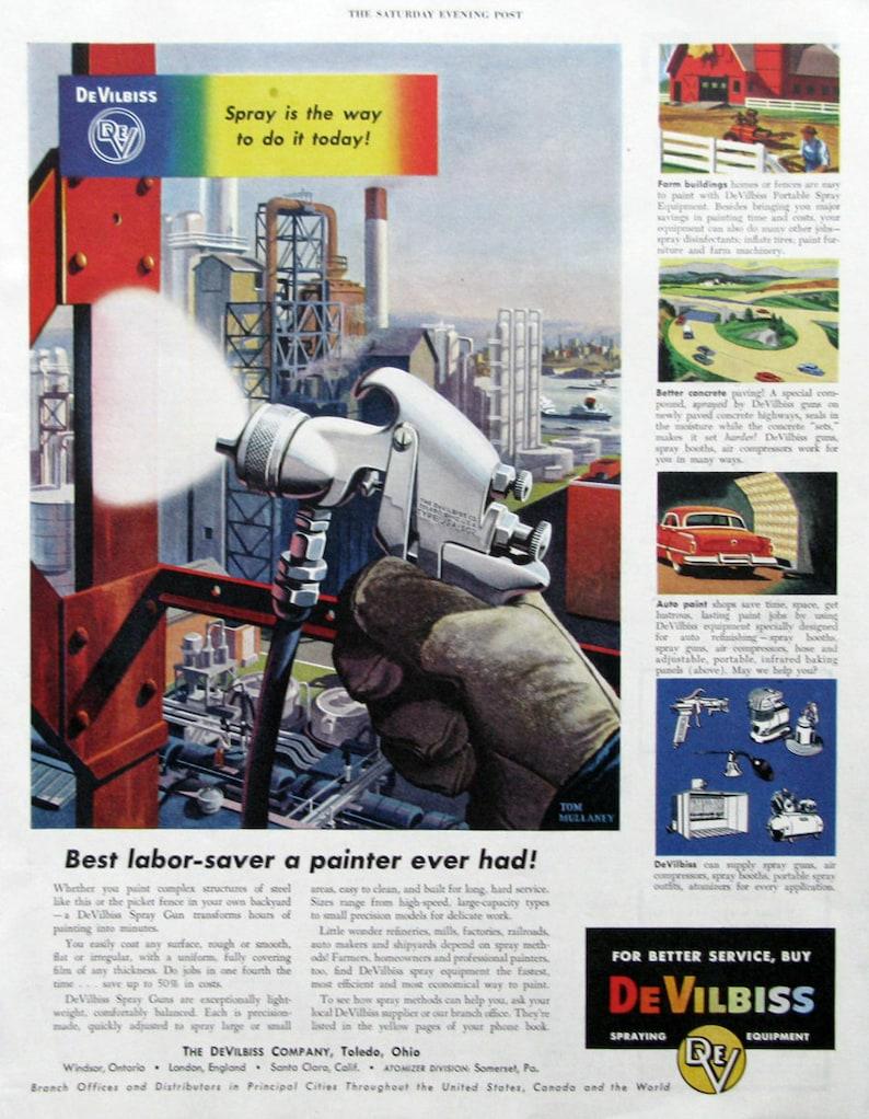 1953 DeVilbiss Spray Gun Ad Pa...