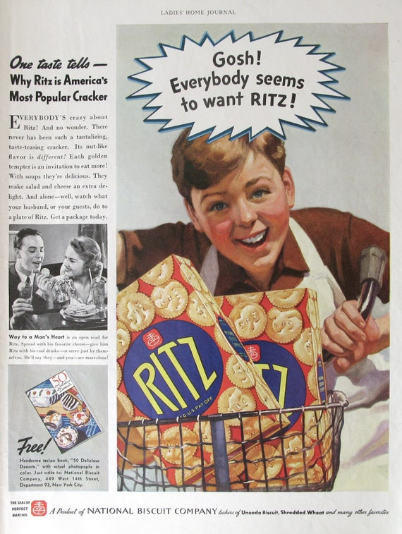1937 Nabisco Ritz Crackers Ad - National Biscuit Company - 1930s Delivery  Boy on Bicycle - Vintage Food Ads