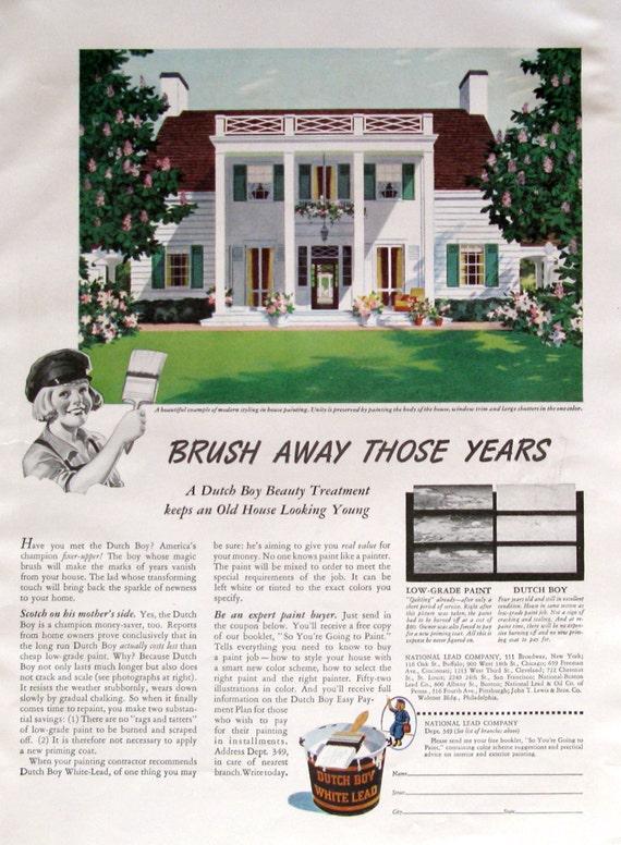 1940 Niederländischen Junge Bleiweiß Farbe Außen Haus Paint