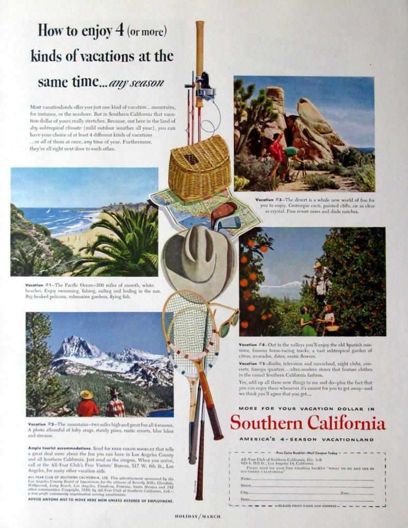 1950 Southern California Travel Poster - Pacific Ocean, Desert, Mountains,  Gardens - 1950s California Travel & Tourism Advertising