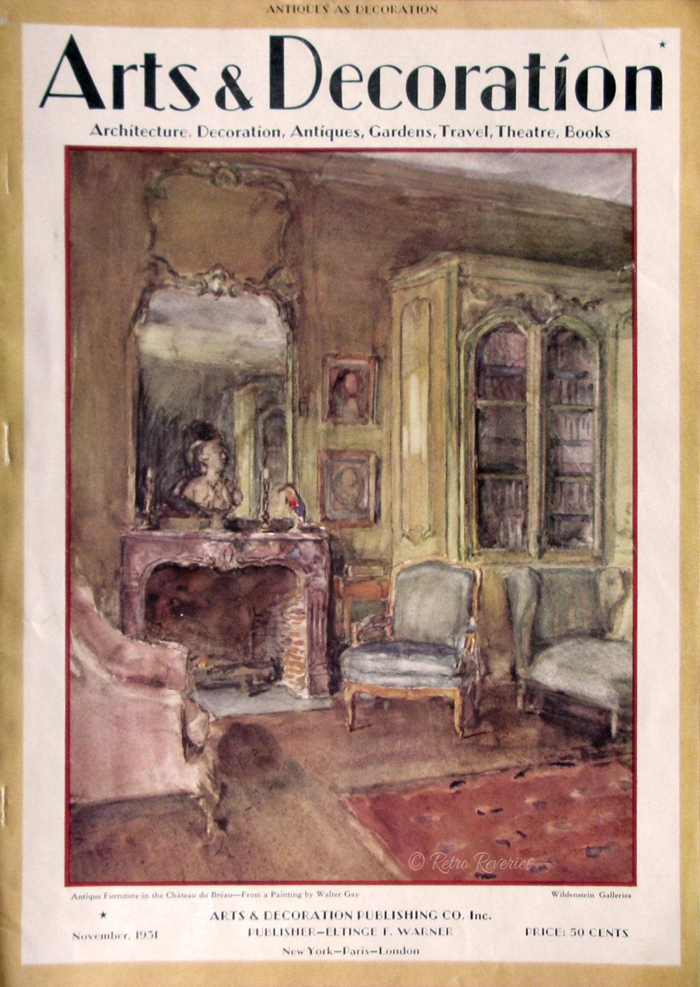 Magazine Art Et Décoration 1931 arts & decoration magazine cover - walter gay art - chateau du breau  drawing room - wildenstein galleries - 1930s vintage illustration