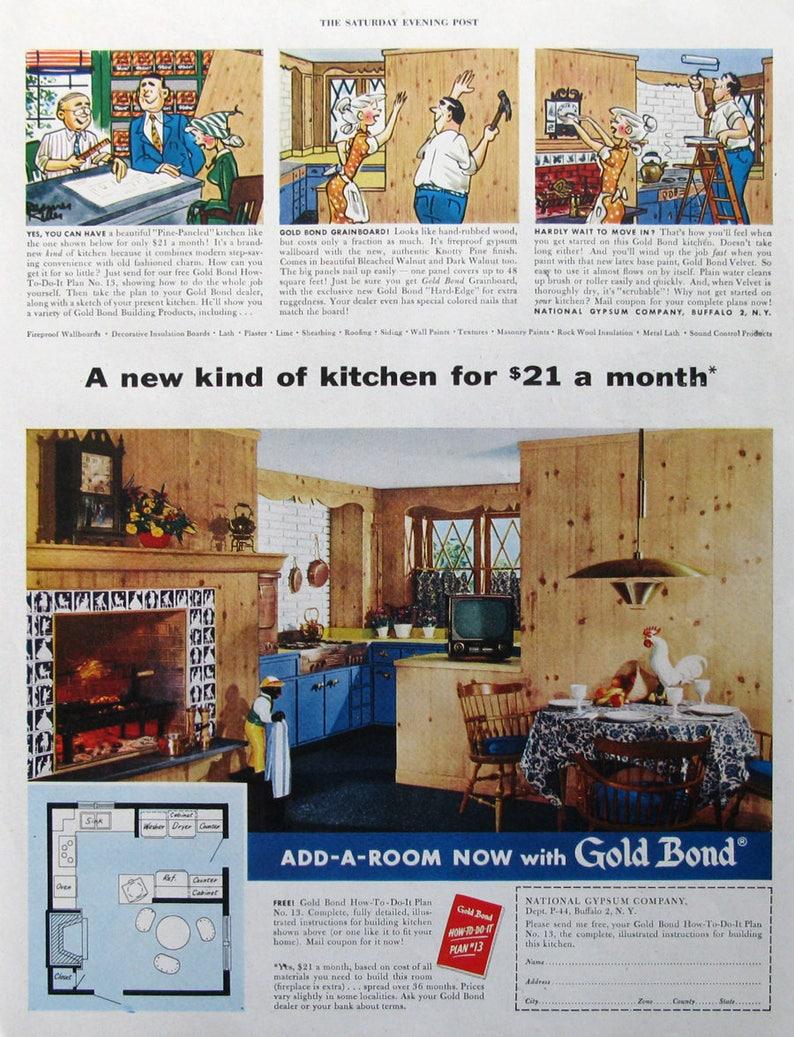 1954 Gold Bond Kitchen Advertisement - National Gypsum Company - 1950s  Retro Kitchen Decor