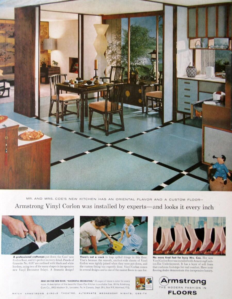 1959 Armstrong Vinyl Floor Ads Retro Asian Kitchen Dining | Etsy