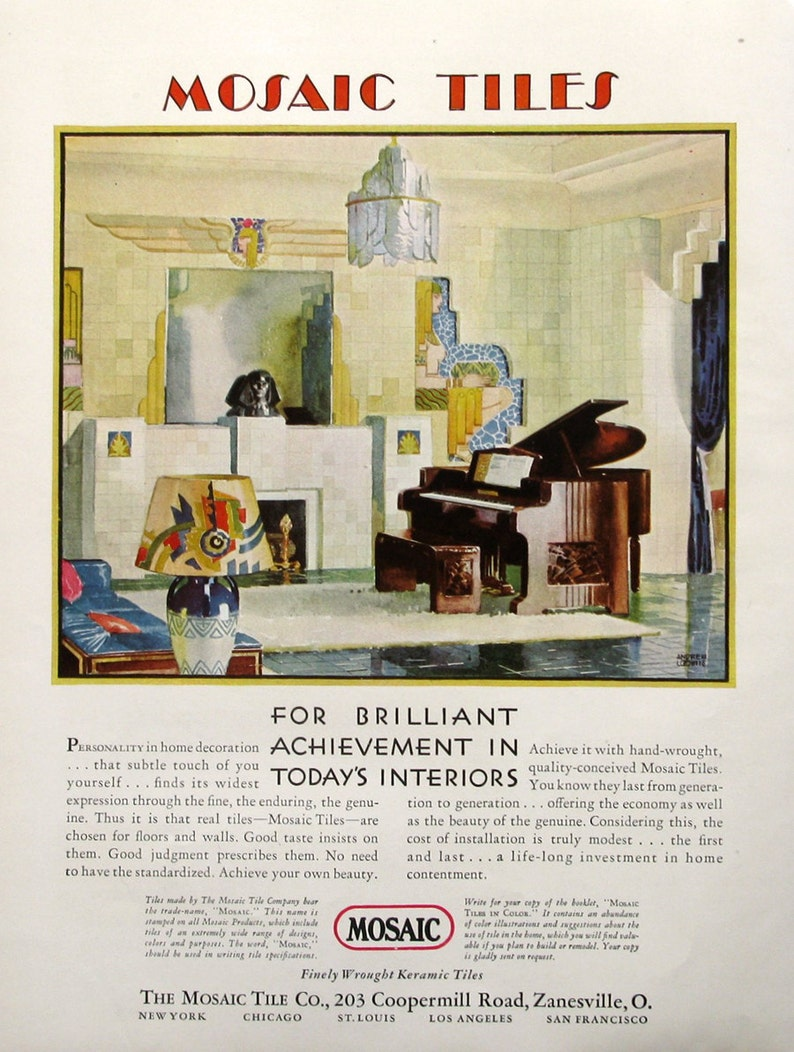 1930 Mosaic Tiles Ad Art Deco Living Room General Electric