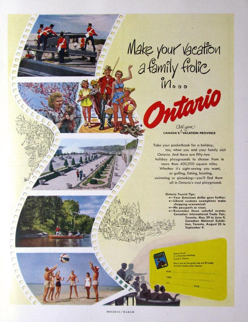 1950 Ontario Travel Ad 1950s Family Vacation 1950s Retro Etsy