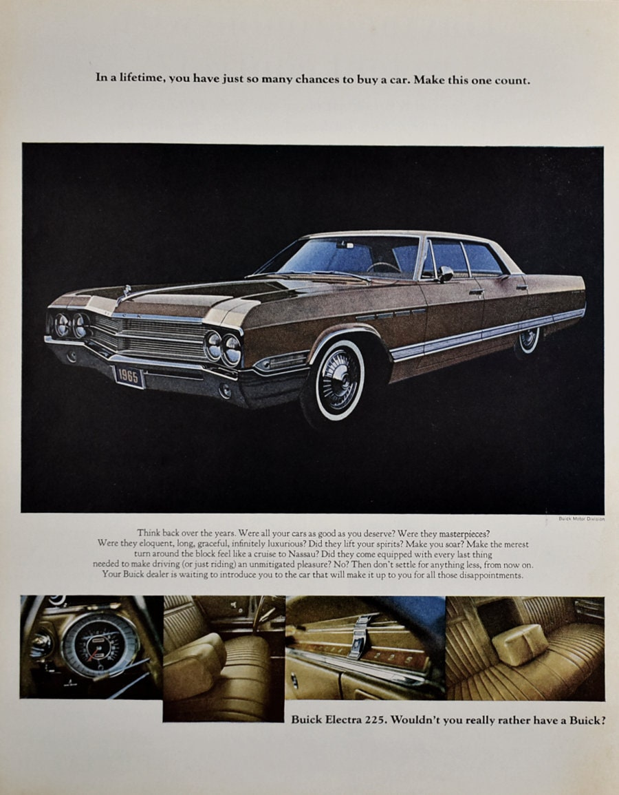 1965 Buick Electra 225 Ad Interior Upholstery Retro 1960s Etsy 1950s And Riviera 50