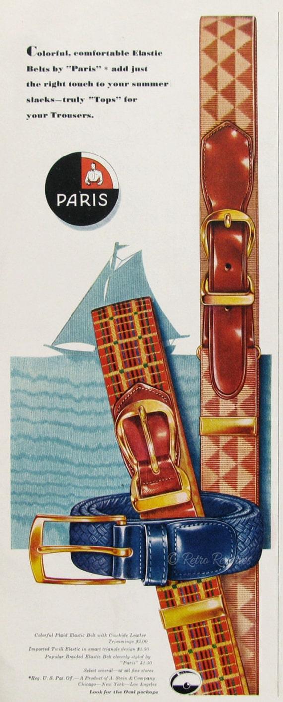 1951 Paris Gürtel Ad Tops für Ihre Hosen Lederriemen und