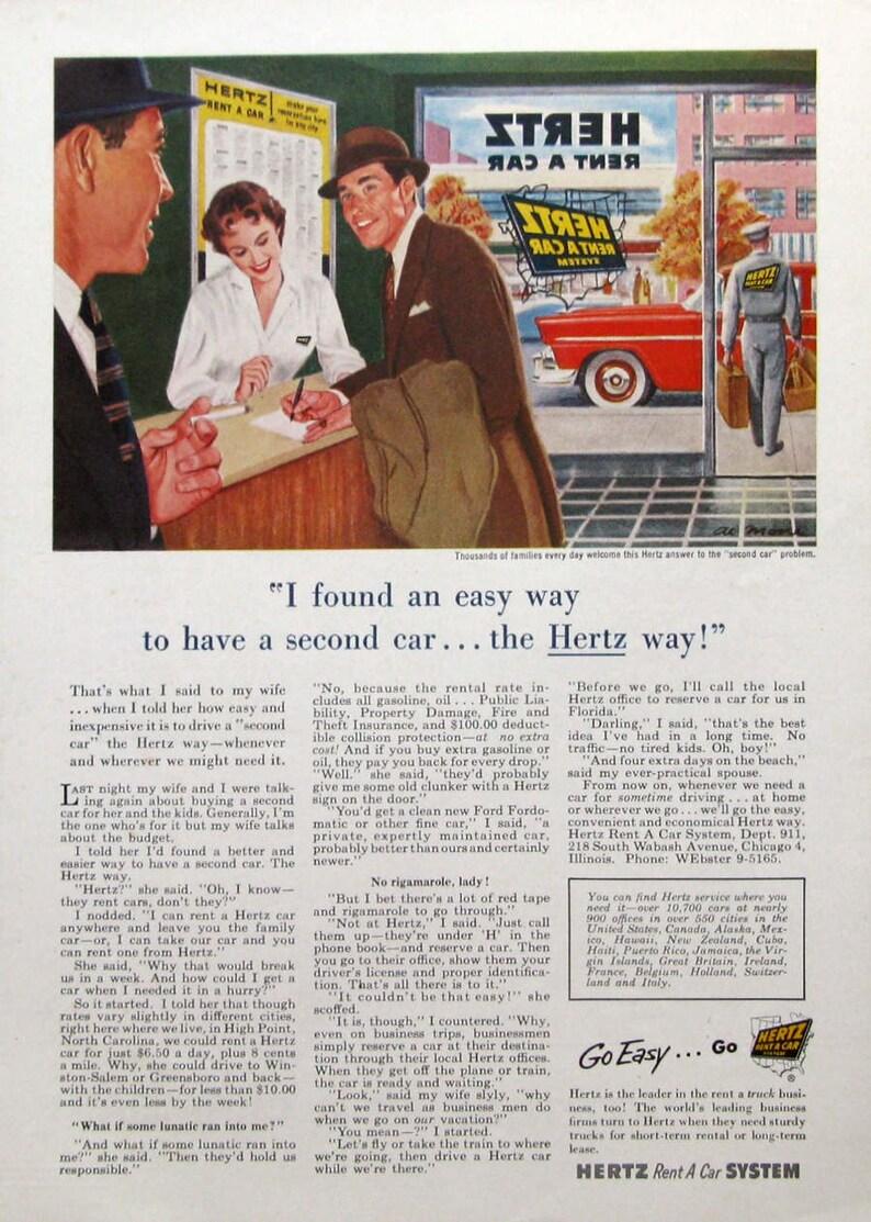 1955 Herz Ad - Al Moore Art - 1950s Car Rental Companies - Vintage  Advertisements