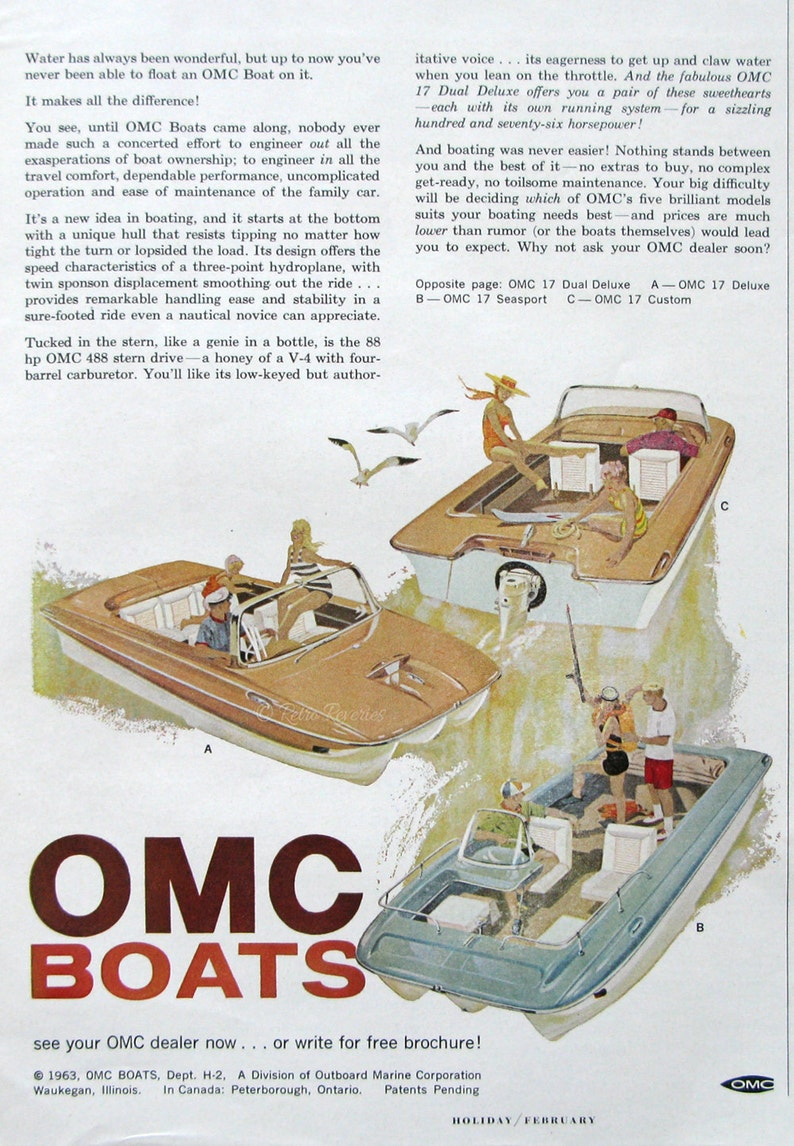 1963 OMC 17 Boats Ad - Outboard Marine Boats Ad - 1950s Fishing Cruiser -  Gift for Boater, Man Cave Decor Art Print
