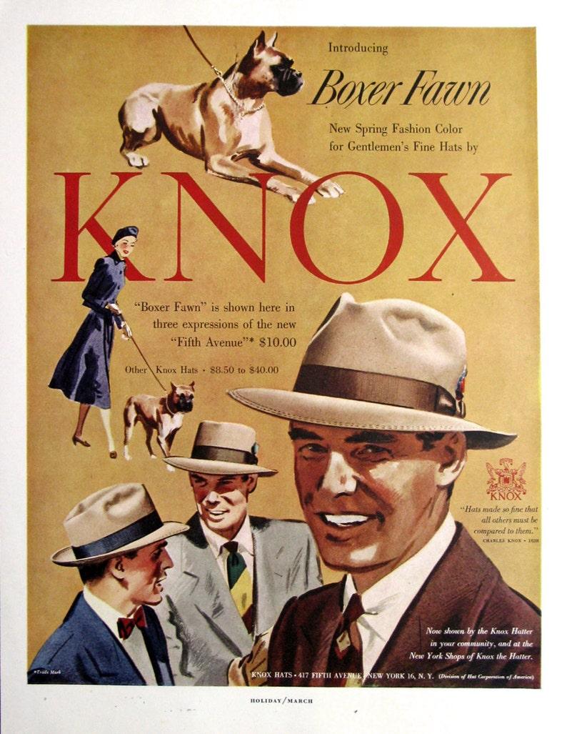 1950 Knox Hats Ad Knox Boxer Fawn Hats Ad 1950s Sharp  c9d4606ad21
