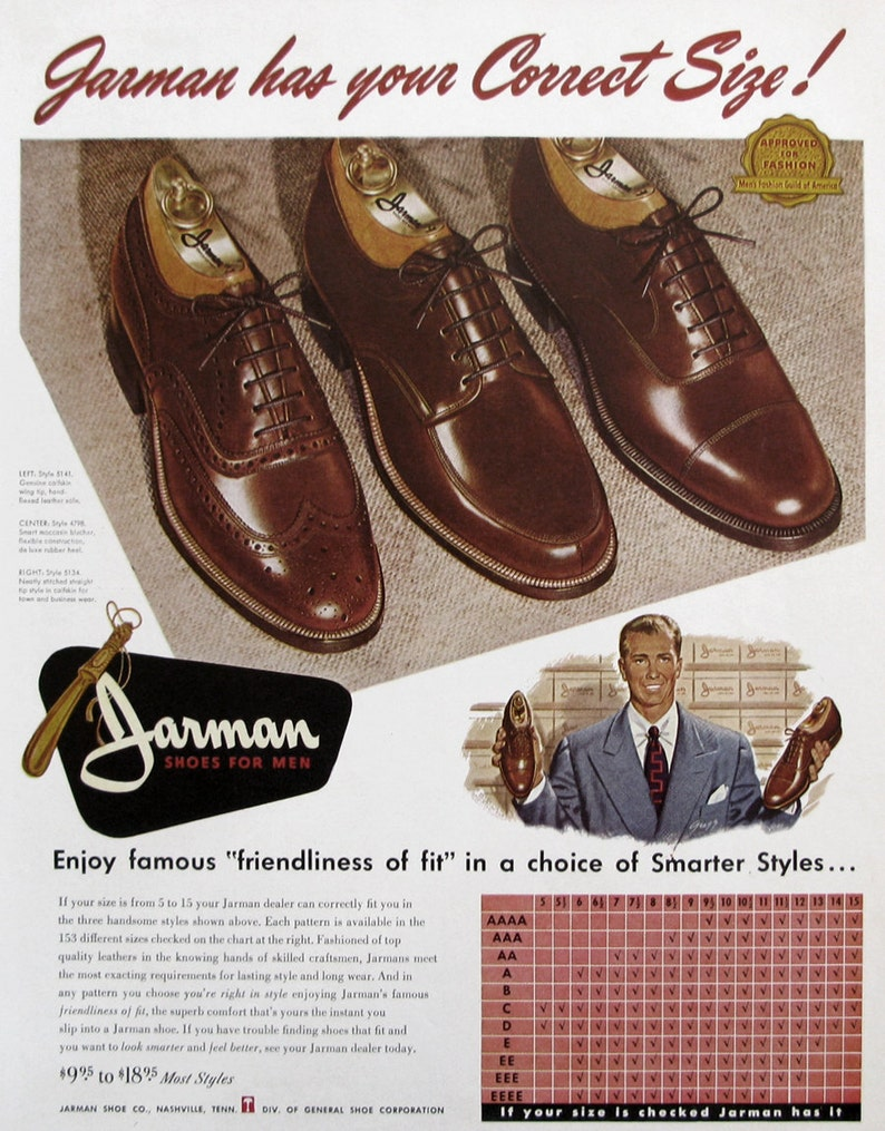 1951 Jarman Shoes Advertisement 1950s Men s Leather  24c57fafbee