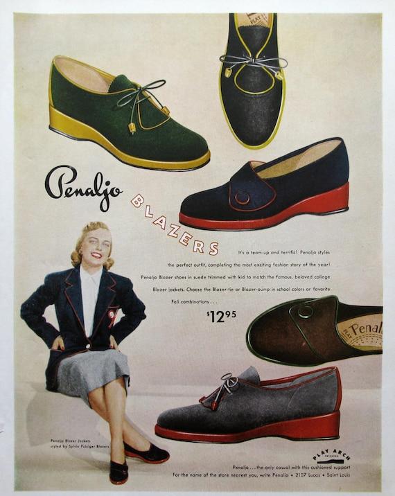 1951 Penaljo Blazers Shoe Ad 1950s Women's Fashion Advertising Retro Closet Decor