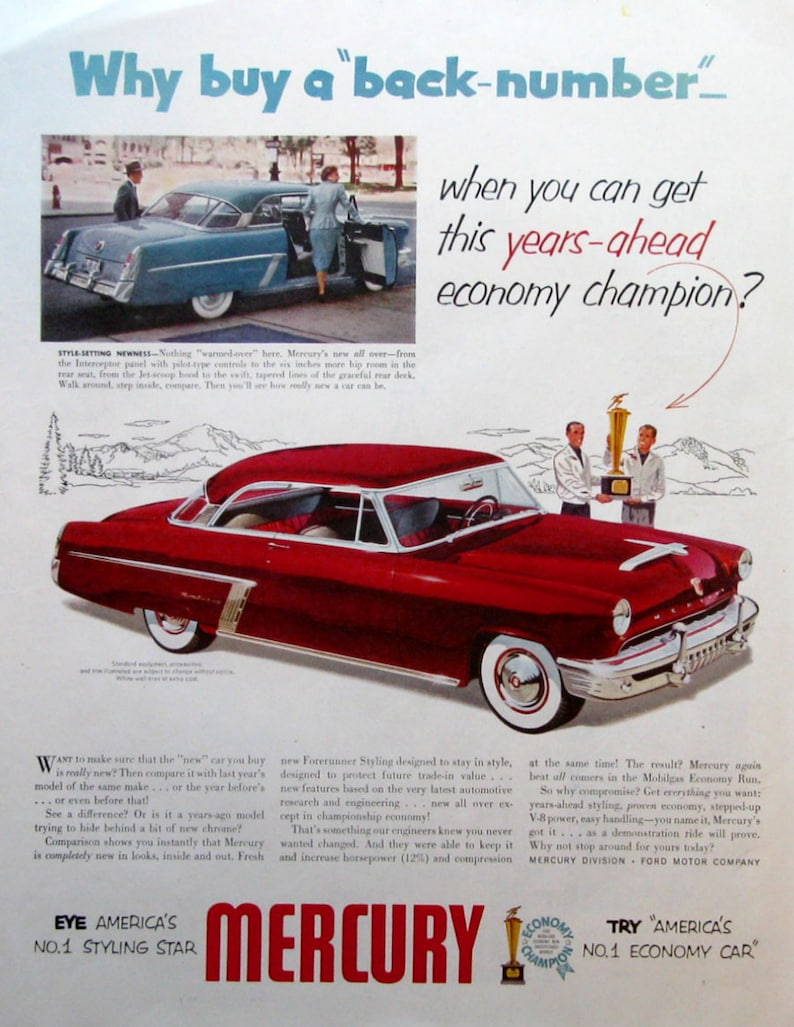 1952 Mercury Monterey Auto Ad - Red Mercury Sedan - Vintage 1950s Car  Advertising