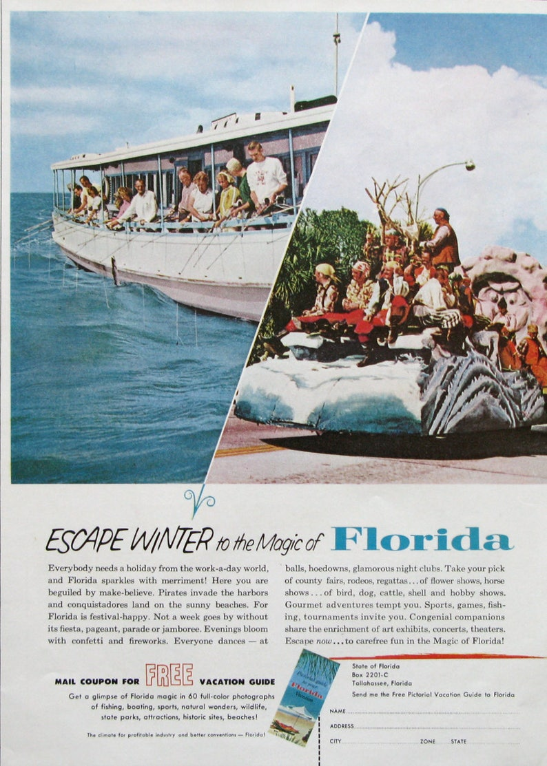 1963 Retro Florida Travel Ad - Nostalgic 1960s Florida Fishing Boat -  Vintage Vacation Advertising