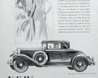1929 Dodge Senior Sport Coupe with Rumble Seat - 1920s Chrysler Cars - Fashionable Couple - Pencil Drawing