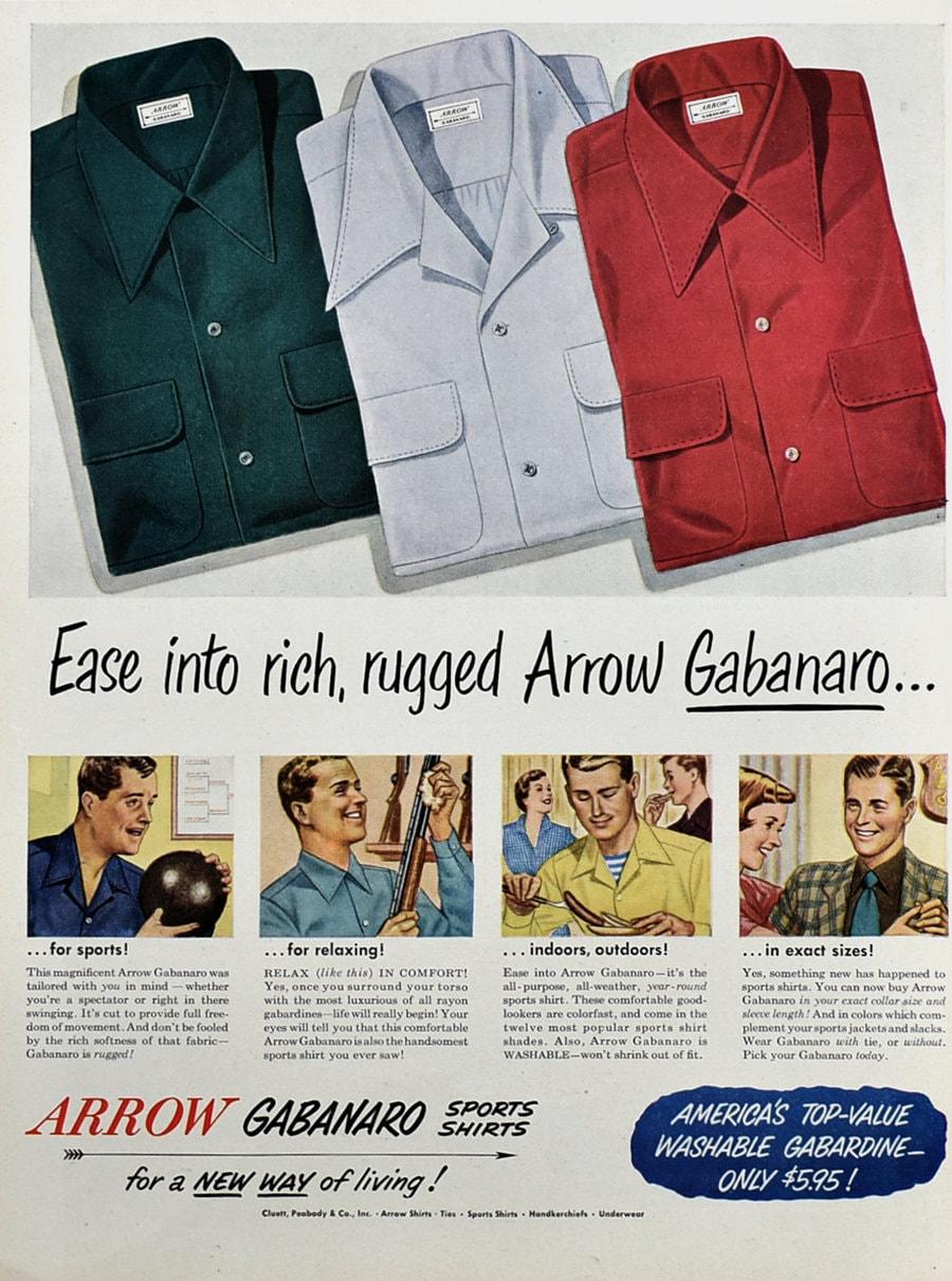 1950 Arrow Shirts Advertising Gabanaro Sports Shirts For Men Etsy