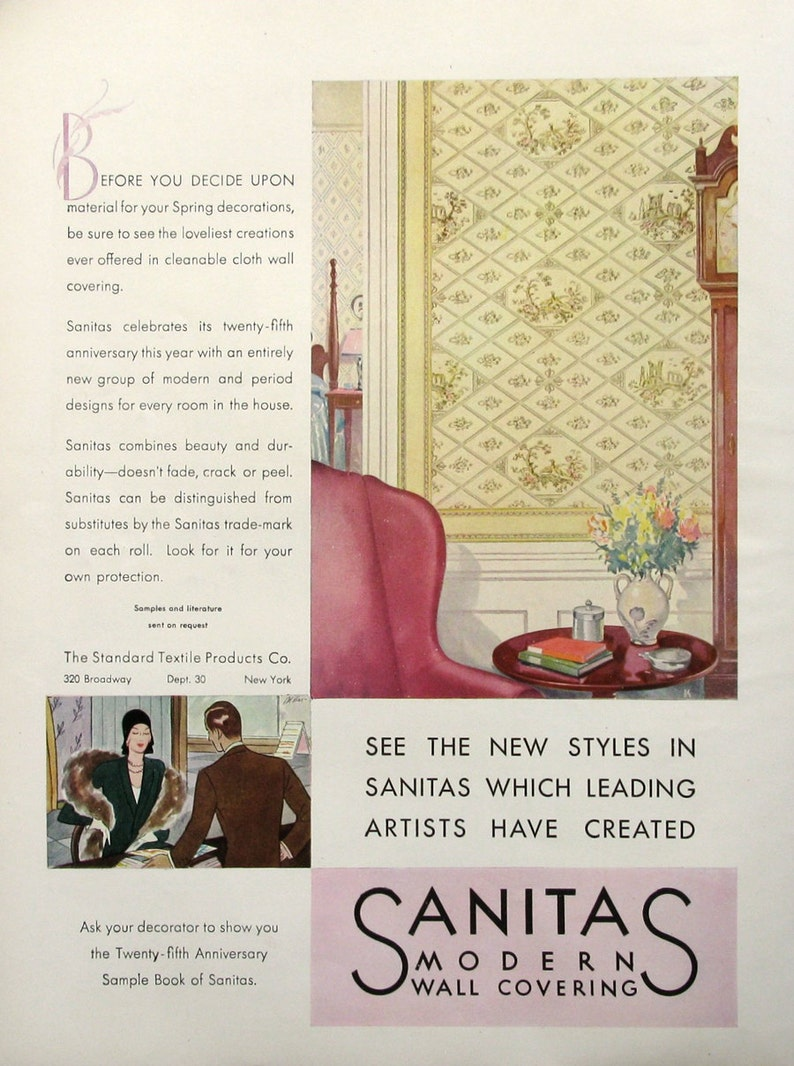 1930 Sanitas Modern Wall Covering Advertisement Standard Etsy