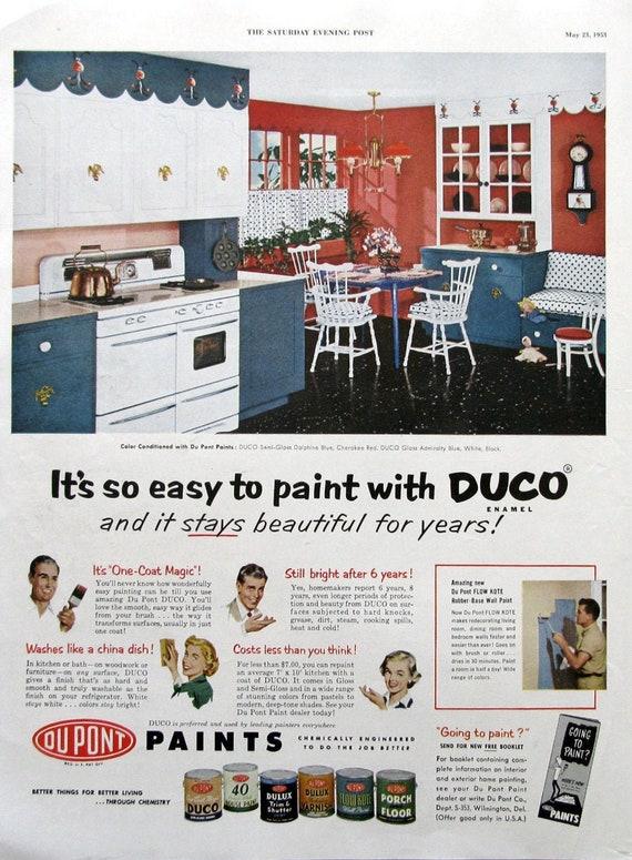 1953 Duco Enamel Paint Ad Retro 1950s Kitchen Decor Etsy